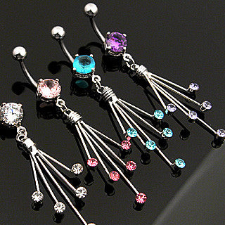 Belly Ring-Crystal Spray - Cheryl's Galore and More