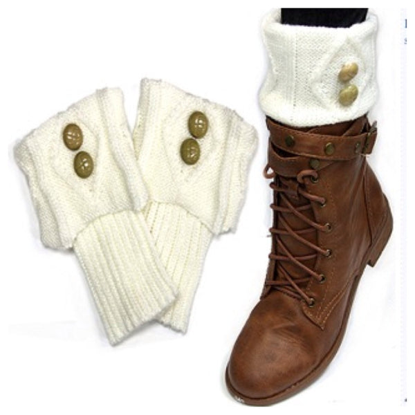 Cute Dual Button Vintage Ivory Boot Topper, Boot Cuff, Women's Accessories - Cheryl's Galore and More
