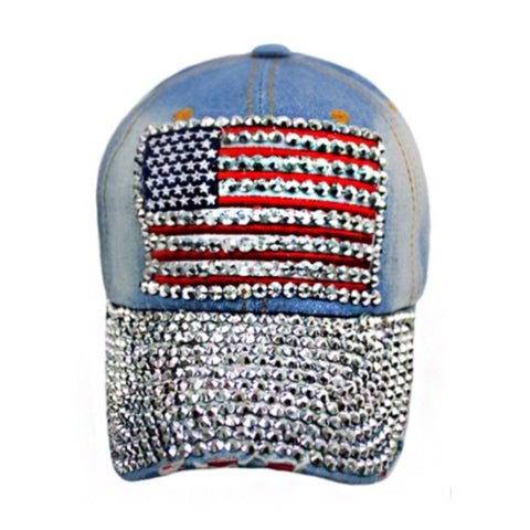 """Patriotic Me"" Red White and Blue ""Bling"" American Flag Light Denim Hat - Cheryl's Galore and More"