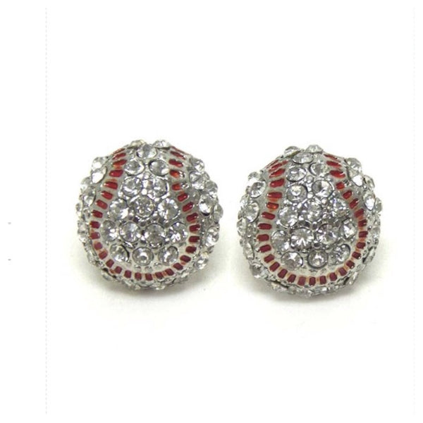 Crystal 'Bling' 3-D Rhinestone Baseball Earrings - Cheryl's Galore and More