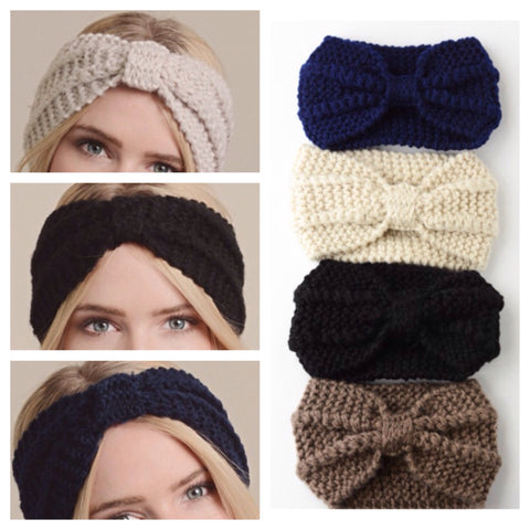 Thick Knit Bow Center Adorable HeadBand HeadWraps - Cheryl's Galore and More - 1