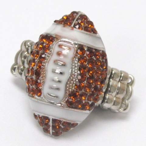 Crystal 'Bling' Football Stretch Ring - Cheryl's Galore and More