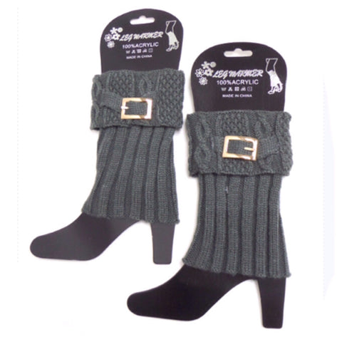 Cute Buckle Accent Charcoal Grey Boot Toppers, Cuffs - Cheryl's Galore and More - 1