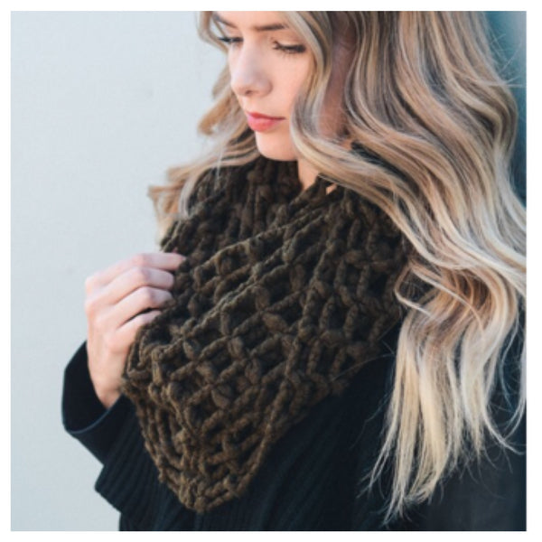 """Forever Style"" Thick Chunky Waffle Knit Olive Infinity Scarf - Cheryl's Galore and More - 1"