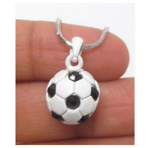 Super Cute WhiteGold Soccer Ball Pendant Necklace - Cheryl's Galore and More