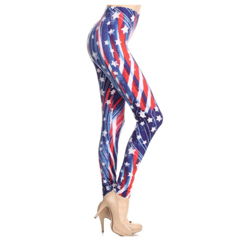 """Always More to Love-American Pride"" American Flag Plus Size Leggings"