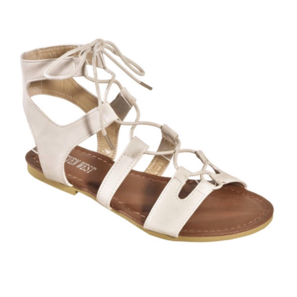 "INSANITY CLOSEOUT ""Always My Style"" Lace Up Gladiator Ivory Sandals"