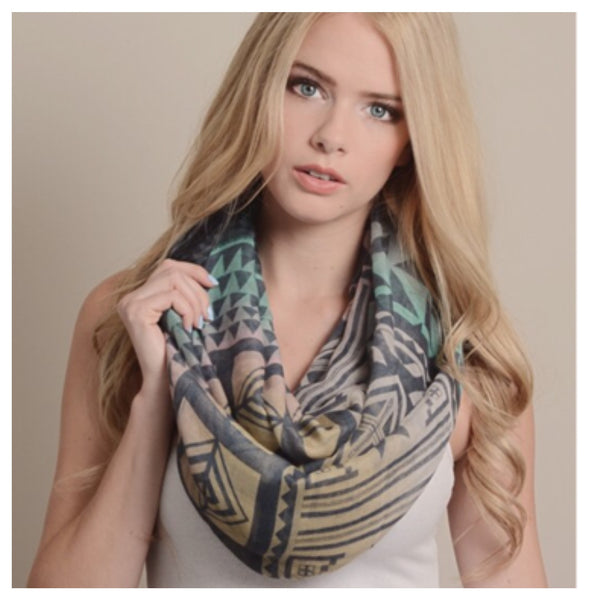 """Always My Style"" Pastels Mix Geo Print Infinity Scarf - Cheryl's Galore and More - 1"
