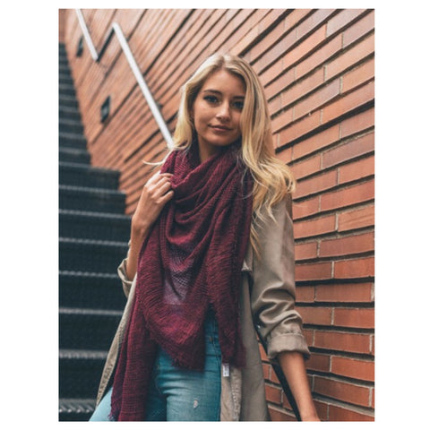 Adorable Shredded Weave Huge Burgundy Blanket Scarf