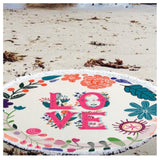 """Fun in the Sun"" Fringe Trim LOVE Round Beach Towel"