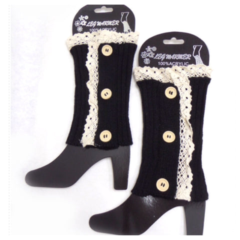 Lace Button Accent Black Boot Topper, Boot Cuffs - Cheryl's Galore and More