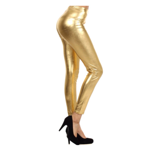 They're Back! Plus Size Fabulous Metallic Gold Leggings - Cheryl's Galore and More
