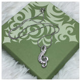 Beautiful Eye Catching Crystal Accented Musical Note Pendant Necklace - Cheryl's Galore and More - 2