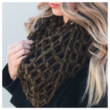 """Forever Style"" Thick Chunky Waffle Knit Olive Infinity Scarf - Cheryl's Galore and More - 2"