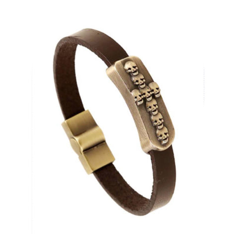 Pulseira Inspired Mens (or Women') Skull Leather Bracelet - Cheryl's Galore and More