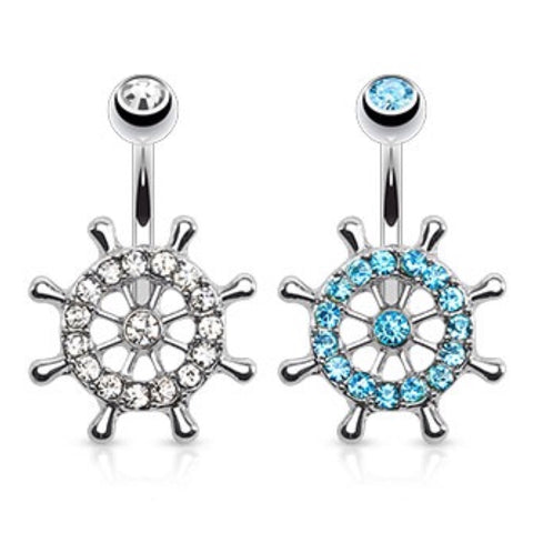 Ship Wheel, Boat Wheel CZ Paved Belly Ring - Cheryl's Galore and More