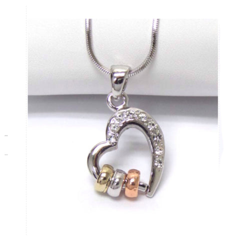 Beautiful Eye Catching Crystal Accented Open Heart Triple Ring Pendant Necklace - Cheryl's Galore and More