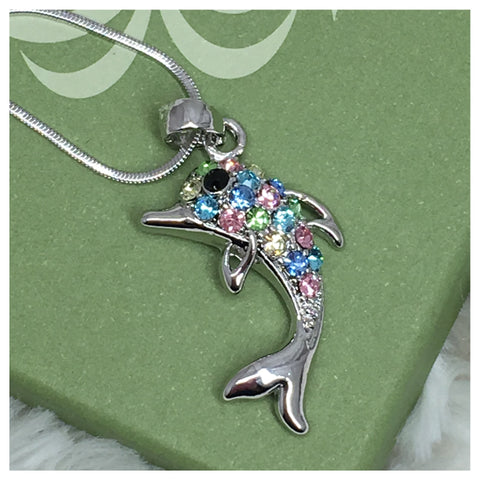 """Always in My Heart"" Pastel Crystal Dolphin Pendant Necklace - Cheryl's Galore and More - 1"