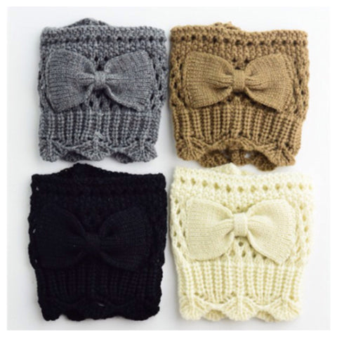 Adorable Bow Accent Knit Boot Toppers, Boot Cuffs - Cheryl's Galore and More - 1