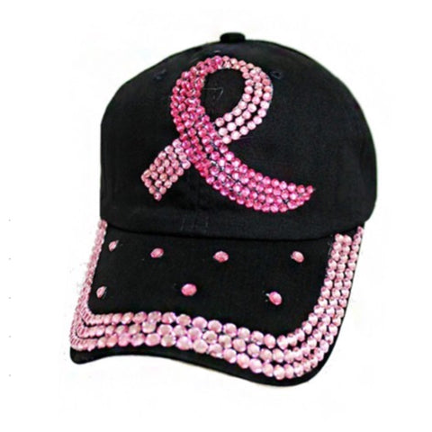 """Fight the Fight"" Pink Ribbon Studded Black Hat"