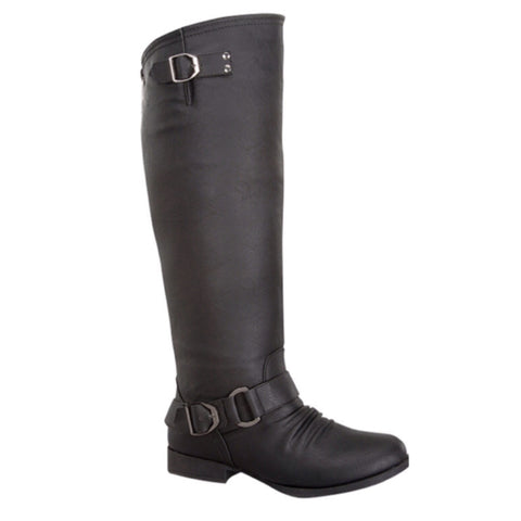 Style and Flare~Knee High Buckle Accent Tall Black Boots - Cheryl's Galore and More