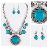 Pave Stone Silver Turquoise Disc Necklace Set
