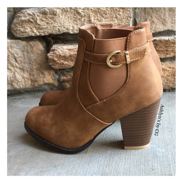 """Style and Flare"" Always Faithful Buckle Strap Tan Heel Bootie Boots - Cheryl's Galore and More - 1"
