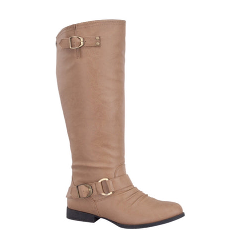 Style and Flare~Knee High Buckle Accent Tall Taupe Boots - Cheryl's Galore and More