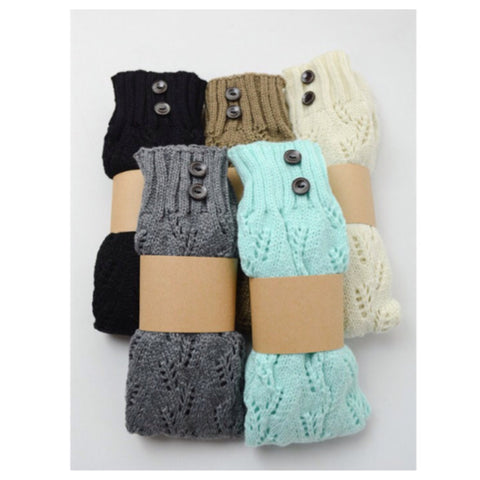 Cute and Cozy Tall Knit Boot Socks with Button Accents - Cheryl's Galore and More - 1