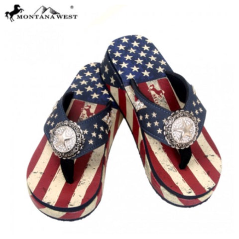"Patriotic-Montana West Limited Edition ""American Pride"" Flip Flops, American Flag - Cheryl's Galore and More - 1"
