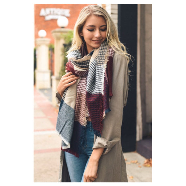 Always in Style Burgundy, Navy, Taupe Plaid Thick Oblong Scarf