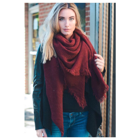 """Style and Flare"" Frayed Edge Burgundy Oblong Blanket Style Scarf - Cheryl's Galore and More - 1"