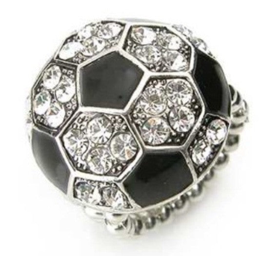 Crystal 'Bling' Soccer Ball Stretch Ring - Cheryl's Galore and More