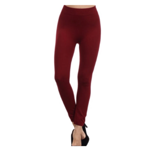 "Your New Favorites! Must Have ""Amazing"" No Peek-a-Boo See Through Burgundy Leggings - Cheryl's Galore and More - 1"