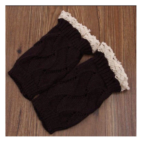 Adorable Lace Trim Dark Brown Boot Toppers, Boot Cuffs - Cheryl's Galore and More