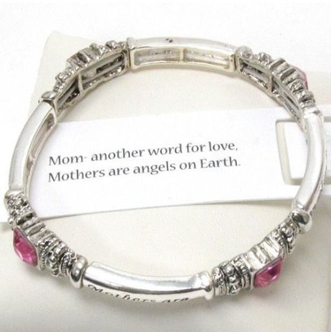 Inspirational 'Mothers Meaning' Message Engraved Stretch Bracelet - Cheryl's Galore and More
