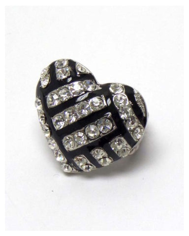 "Crystal ""Bling"" Heart Volleyball Stretch Ring - Cheryl's Galore and More"