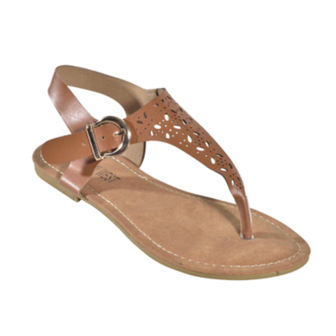 "INSANITY CLOSEOUT! ""Adorable Me"" Cut Out T Strap Boho Camel Tan Sandals"