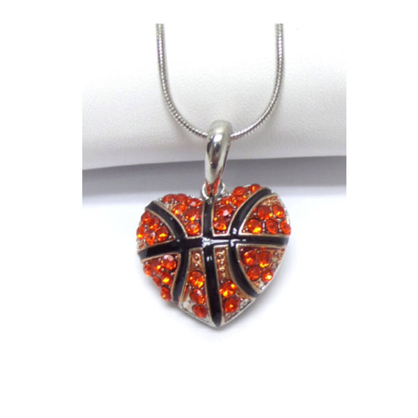 Crystal Accented Puffy Heart Basketball Pendant Necklace - Cheryl's Galore and More