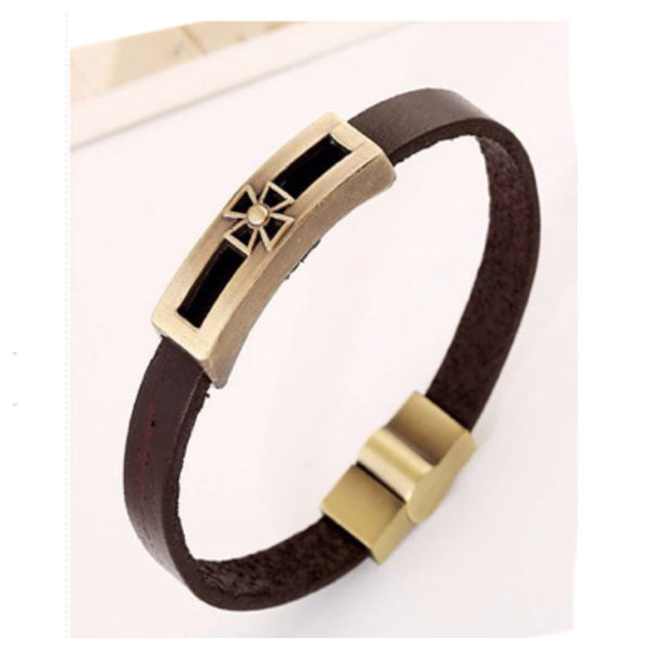 Pulseira Inspired Mens (or Women') Cross Leather Bracelet - Cheryl's Galore and More