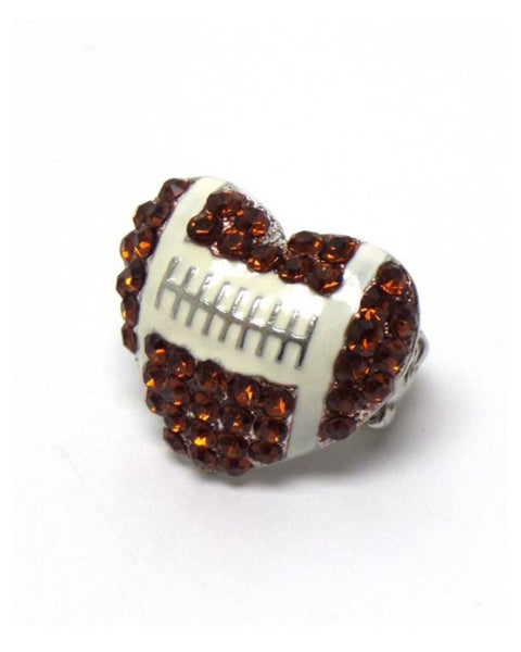 "Crystal ""Bling"" Heart Football Stretch Ring, Jewelry - Cheryl's Galore and More"