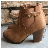 """Style and Flare"" Always Faithful Buckle Strap Tan Heel Bootie Boots - Cheryl's Galore and More - 2"