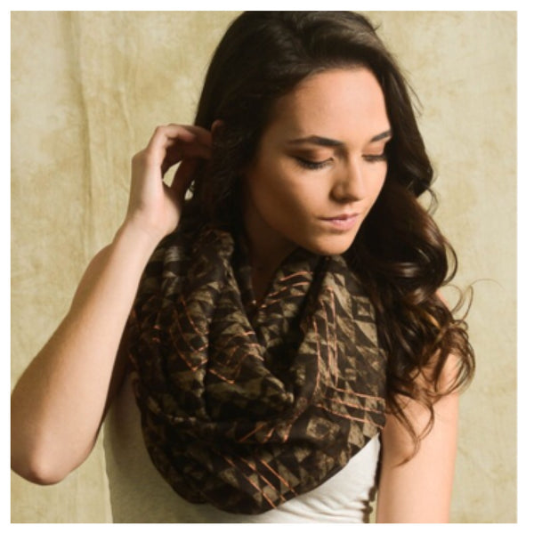 """Always My Style"" Brown Mix Diamond Geo Print Infinity Scarf - Cheryl's Galore and More - 1"