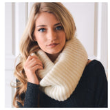 """Your New Favorite"" Cozy Warm Ribbed Knit Ivory Infinity Scarf - Cheryl's Galore and More - 2"