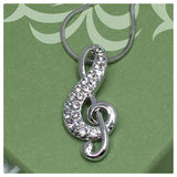 Beautiful Eye Catching Crystal Accented Musical Note Pendant Necklace - Cheryl's Galore and More - 1