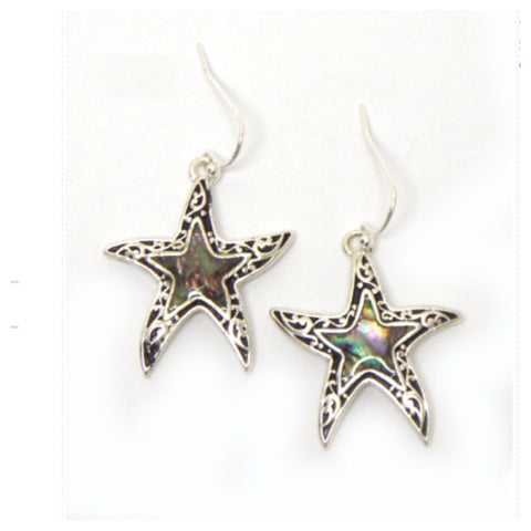 """Sea Life"" Abalone Stone Silver Sea Star Earrings - Cheryl's Galore and More"