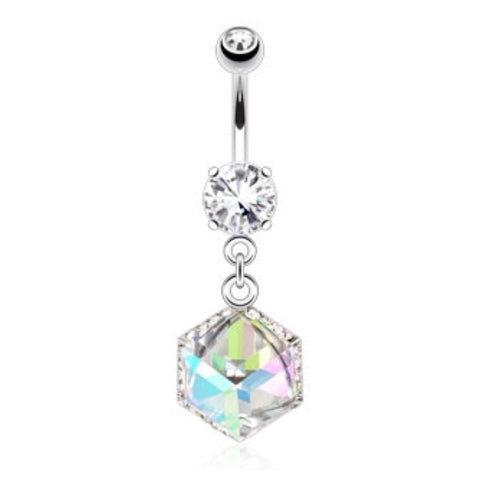 Paved Gem Incased Cube Prism 316L Belly Ring - Cheryl's Galore and More