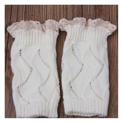 Adorable Lace Trim White Boot Toppers, Boot Cuffs - Cheryl's Galore and More