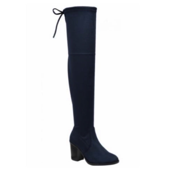 "Special Sale! ""Sassy Me"" Above the Knee Suede Navy Heel Boots"