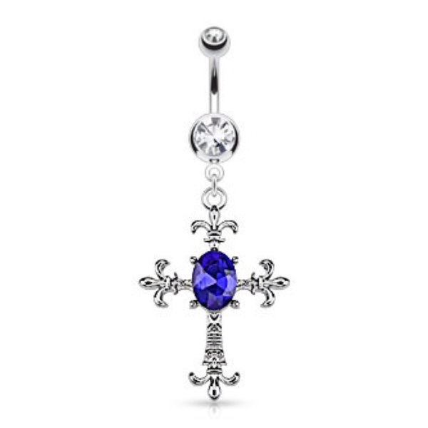 Fleur De Lis Cross Crystal Accented Belly Ring - Cheryl's Galore and More